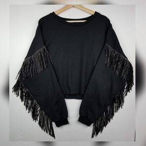 ZARA Black Oversized Sweatshirt Metallic Fringe